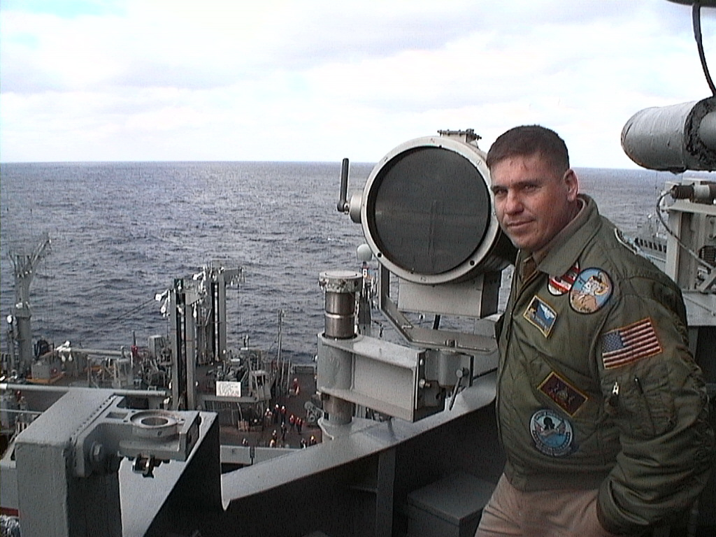 Keith Hale on board the Signal Bridge of the USS George Washington during an Underway Replenishment.