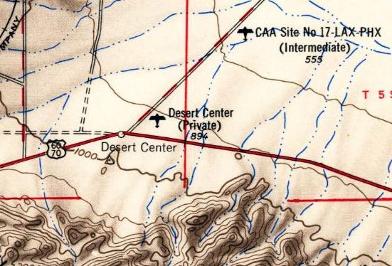 The 1954 Usgs Topo Map Depicted Desert Center As A Private Airfield