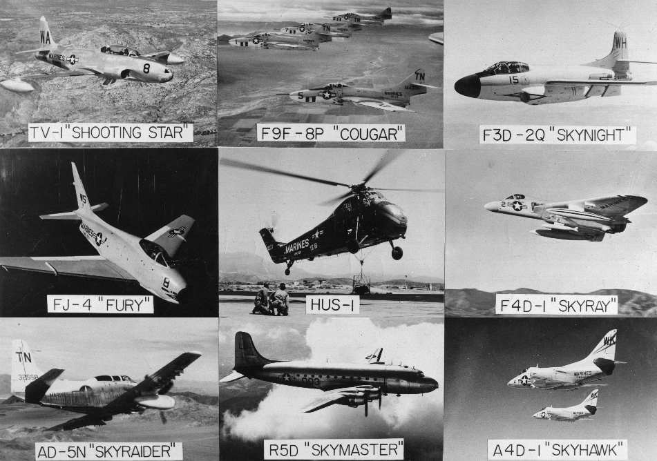 1950s usmc picture of several types of aircraft operated from mcas