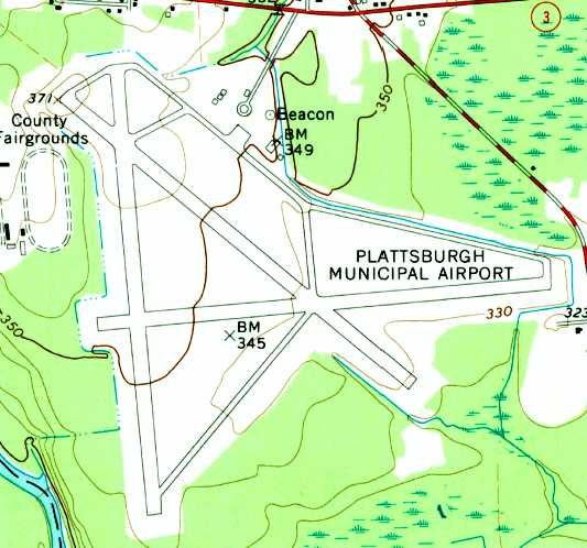 The 1966 Usgs Topo Map Depicted The Plattsburgh Munil Airport As Having 3 Paved Runways Taxiways