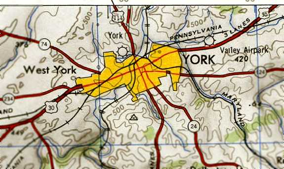 The original York Airport, as depicted on the 1946 USGS topo map.