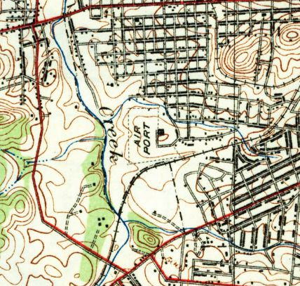 57e7a6fb296 The earliest topo map depiction which has been located of McConnell Field  was on the 1932 USGS topo map.
