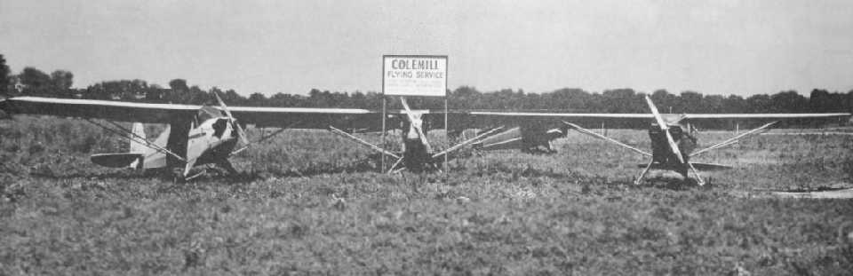 8c899279bb8 A 1945 photo of 4 taildraggers with a sign for the Colemill Flying Service  at Cornelia Fort Airport (courtesy of David Stevenson).