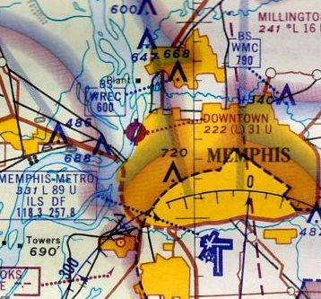 16c7ebed351 The last aeronautical chart depiction which has been located of Memphis  Downtown Airport was on the January 1966 Little Rock Sectional Chart  (courtesy of ...