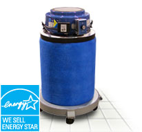 filters the air of dust and contaminant gases, then ejects the cleaned air out the top of the unit to the ceiling