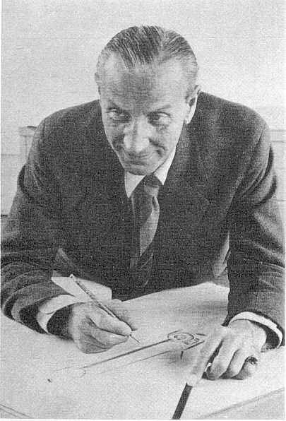 Sir Alec Issigonis at the drawing board.
