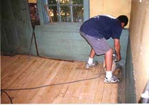 removing the floor's green paint