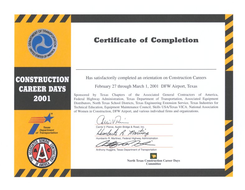 Downloads – Certificate of Completion Construction