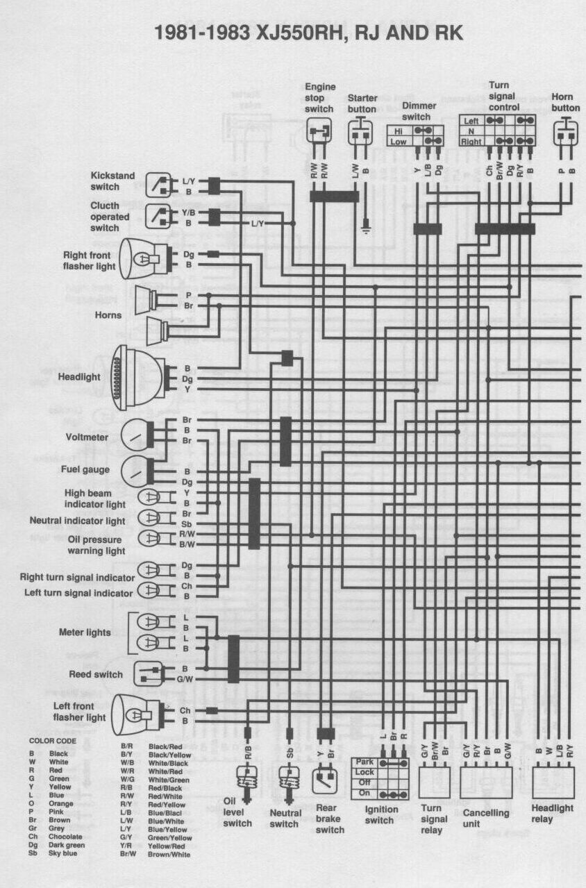 Xj750 Wiring Diagram 20 Images Diagrams Yamaha Xt350 Xj Electrical D2a 1982 At