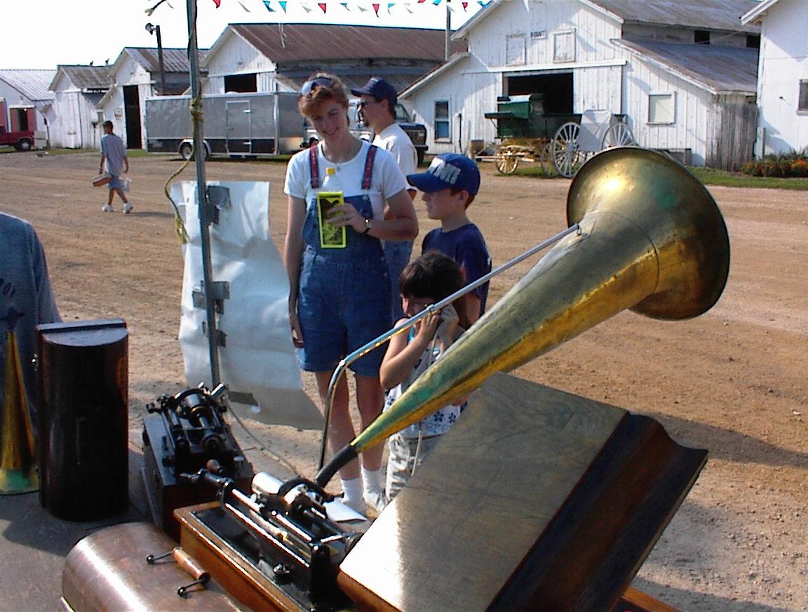 patrons listen at North american phonograph co's dislplay  at the Bureau county fair