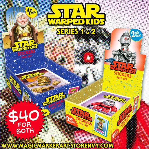 STAR WARPED KIDS Series 1 Die-cut Sticker Set Star Wars Parody GPK Artist