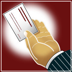 Illustration of hand holding a business card; Size=240 pixels wide