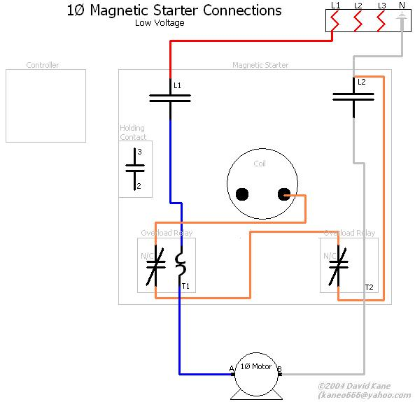 1ph_lowvolts_magstarter motor connections single phase magnetic starter wiring diagram at reclaimingppi.co