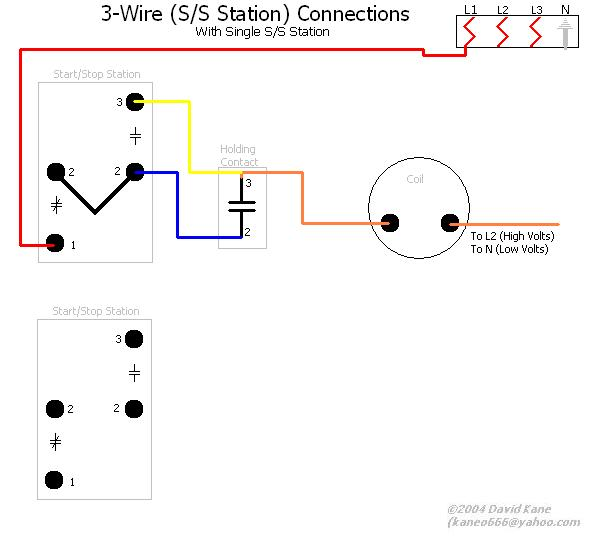 3wire  Wire Start Stop Station Wiring Diagram on