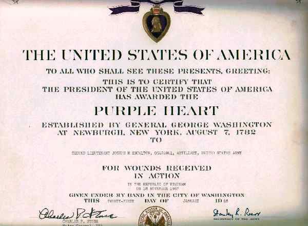 Purple heart award certificate purple heart award for 1lt for Purple heart citation template