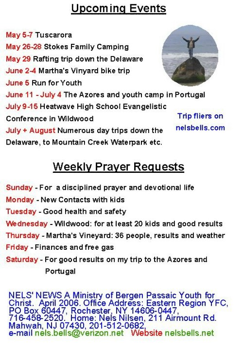 Prayer requests + Missionary Support Letter