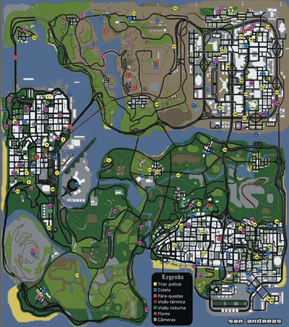 Esse mapa com a localização de todas os itens tais comoóculos de