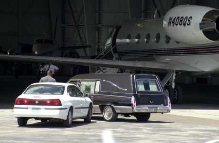 Aaliyah Death Photos Body A hearse containing the body