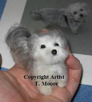 By request: a needle felted silver & white Maltipoo, a Maltese Poodle ...