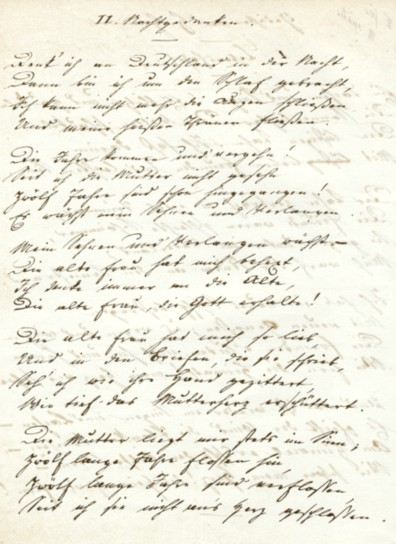 """the first page of """"Night Thoughts"""" in Heine's handwriting"""