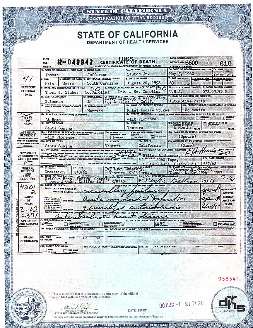 Stukes family genealogy page death certificate of thomas jefferson stukesjr my father aiddatafo Image collections