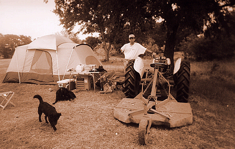 John Stukes, owner of the Big S Ranch, with dogs Shadow and Buffy, and my 1950 Ford 8N tractor
