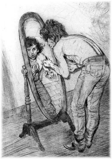 [Keith in Mirror by Ronnie Wood]