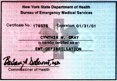 Nys Basic Emergency Medical Technician Card