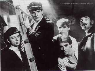 Split Enz in their leaky boat