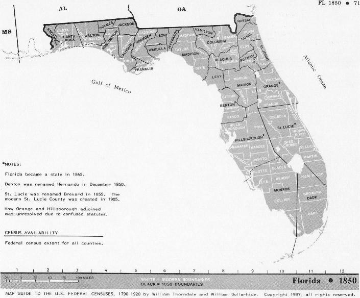 Florida Census Maps 1830 - 1920