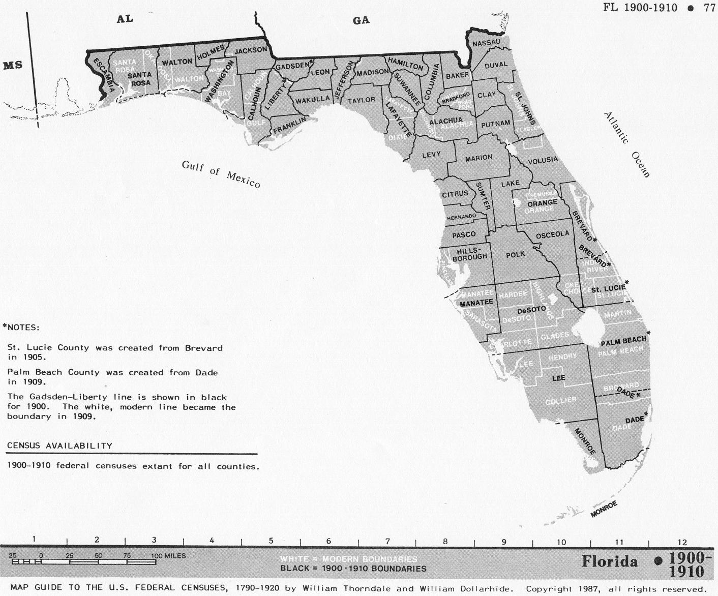 Florida Census Maps - Florida map black and white