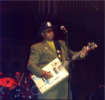 {Bo Diddley onstage}
