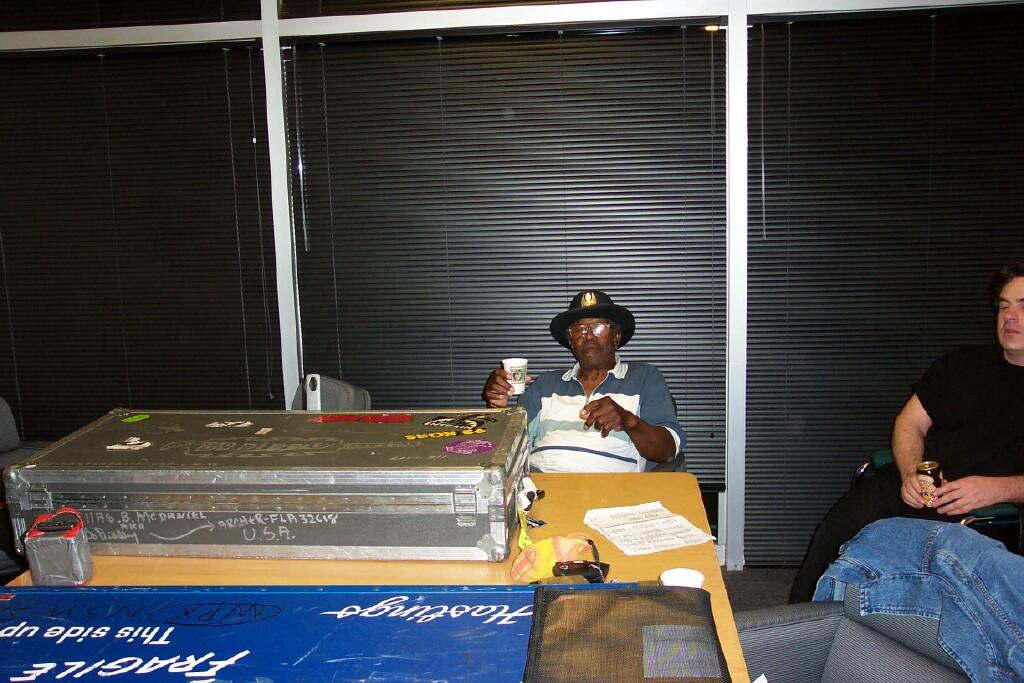 {Bo Diddley backstage, Atlanta, GA}