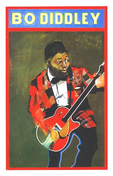 {Color painting of Bo Diddley}