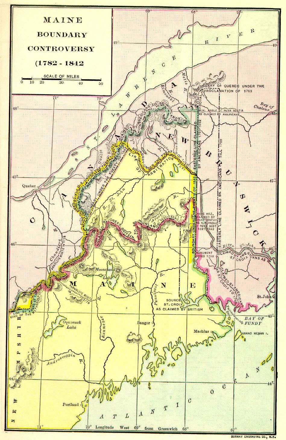 A Map of Maine and New Brunswick at the Time of The Aroostook War