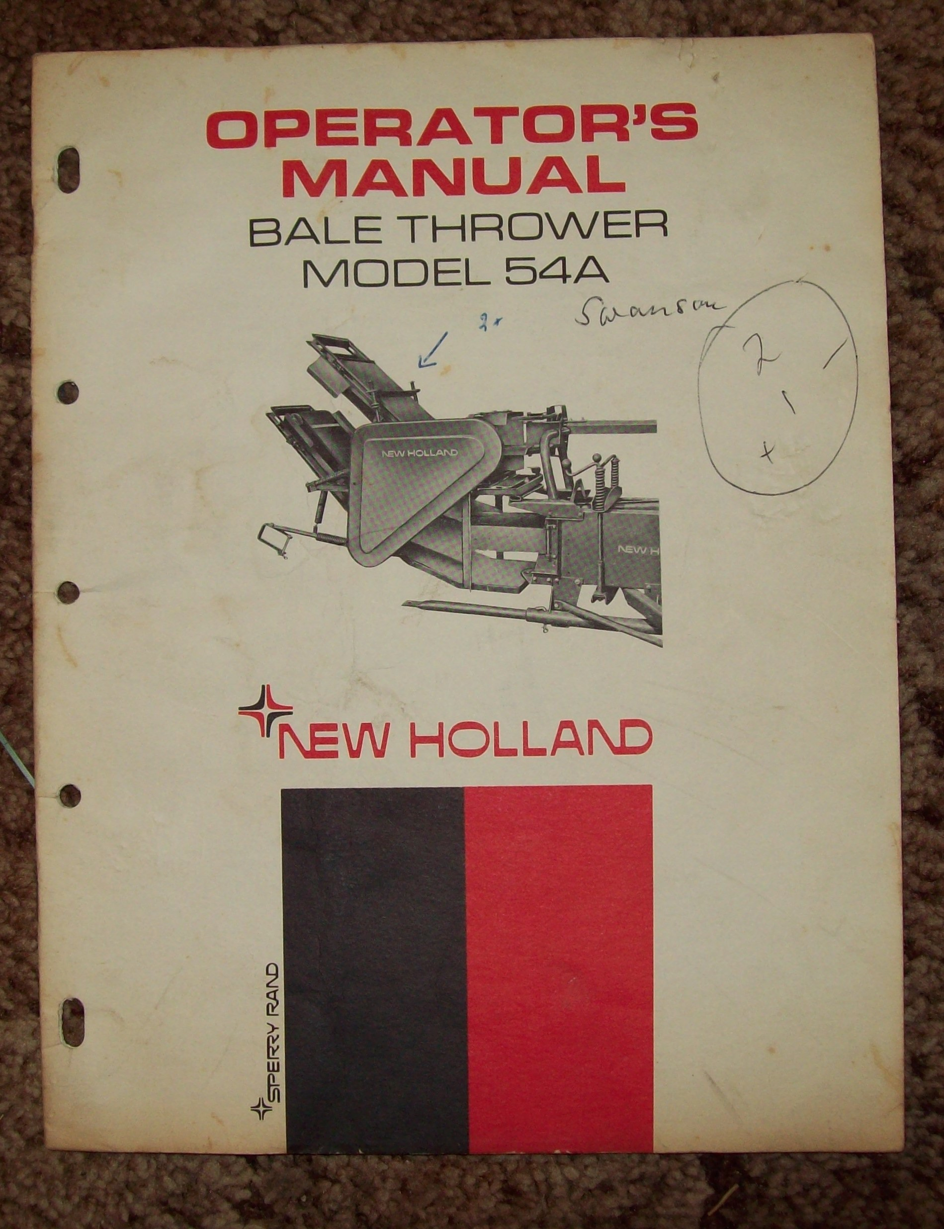 Erics Machinery Sales Repair John Deere Bale Trak Wiring Diagram New Holland Model 54a Thrower Operators Manual Copyright 1968 14 Pages Cover Shows Wrinkles And Creases Smudges Along With Writing On Front