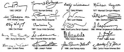 signatures of Nobel Peace Laureates