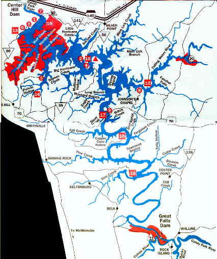Tennessee fishing page maps section for Center hill lake fishing report