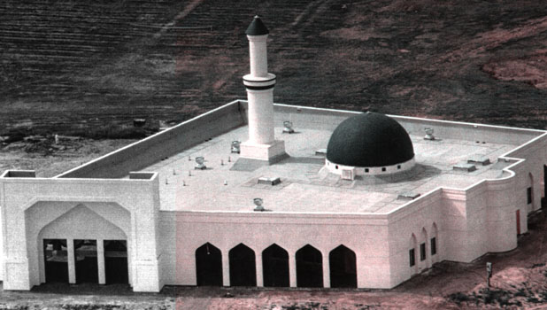Aerial view of original mosque taken shortly before firedestroyed it